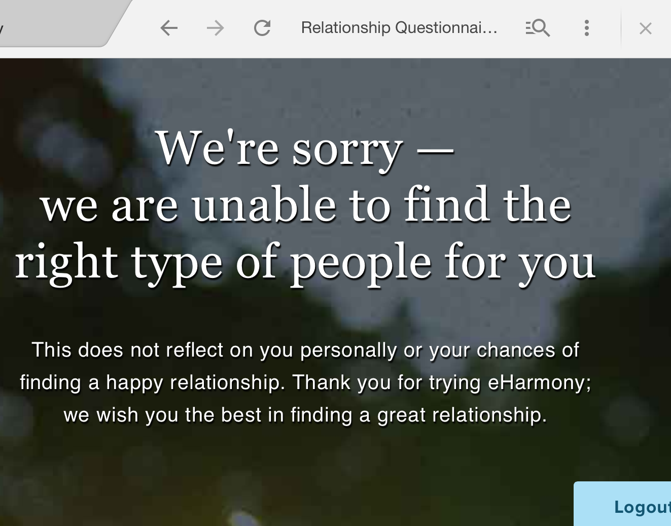 Why does eharmony reject