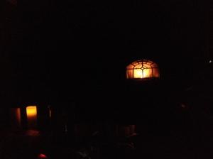 Pellet stove+lantern=cozy
