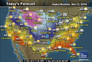 Exciting!  Weather Channel map for November 11, 2014.