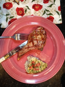 Grilled veal chop marinated in lemon, olive oil, and rosemary, a perfect foil for the spicy corn pudding.