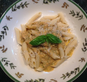 Penne Rigate alla Vodka with Basil and no mushrooms